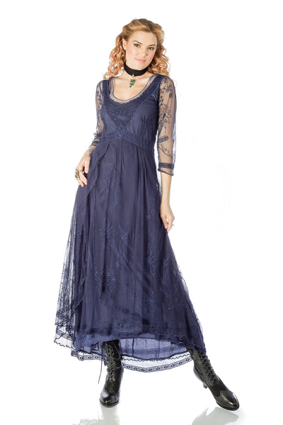 Nataya 40163 Downton Abbey Tea Party Gown in Royal Blue