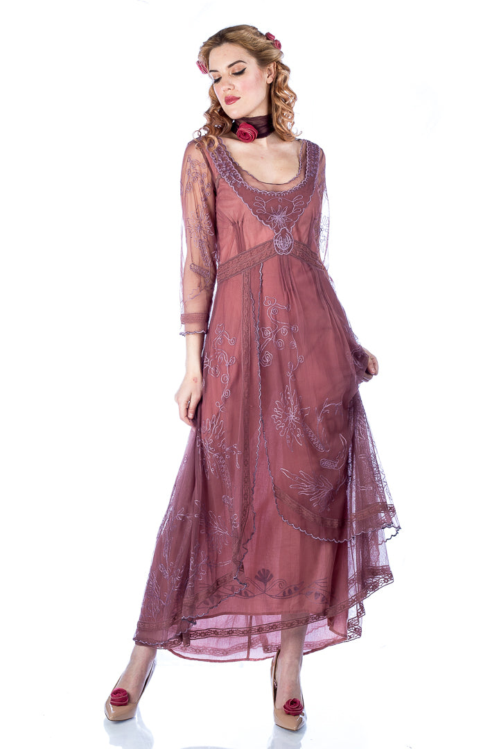 8d3d0615bee0 Nataya 40163 Downton Abbey Tea Party Gown in Mauve Inspired by intricate  fashions of the early 20th century, this refined and romantic tea dress is  simply ...
