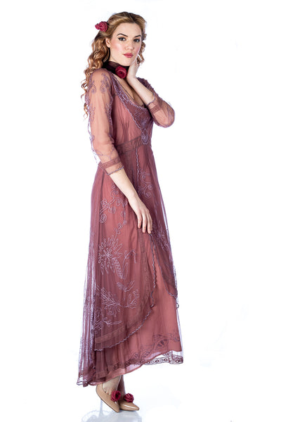Nataya 40163 Downton Abbey Tea Party Gown in Mauve