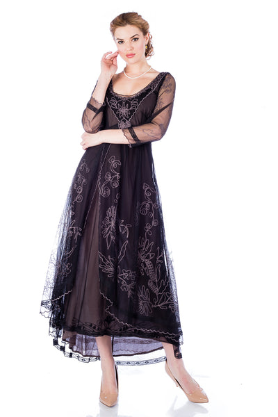 Nataya 40163 Downton Abbey Black/Coco Tea Party Gown