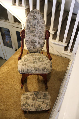 Elferdink Nantucket Mahogany Rocker and Footstool
