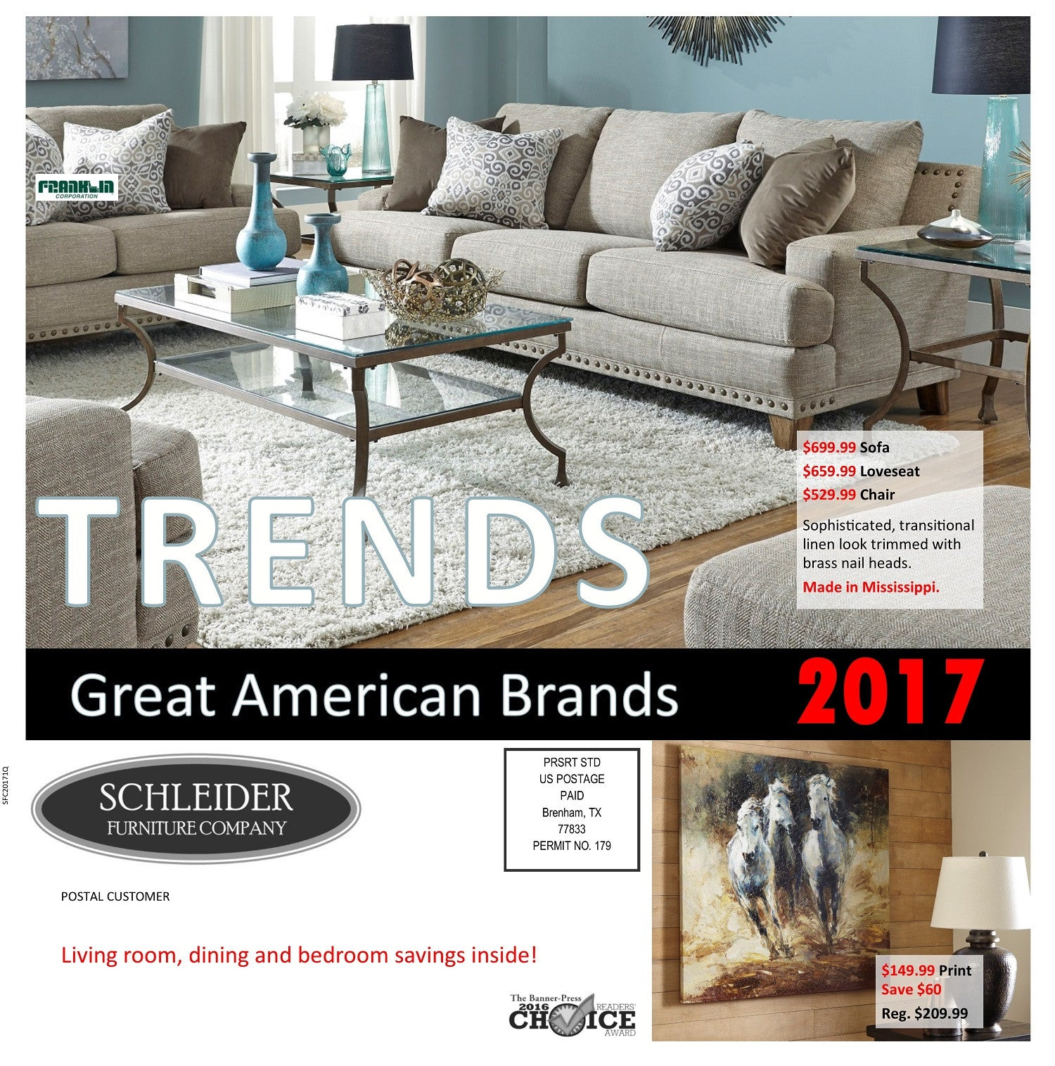 Shop American furniture brands ad featuring living room