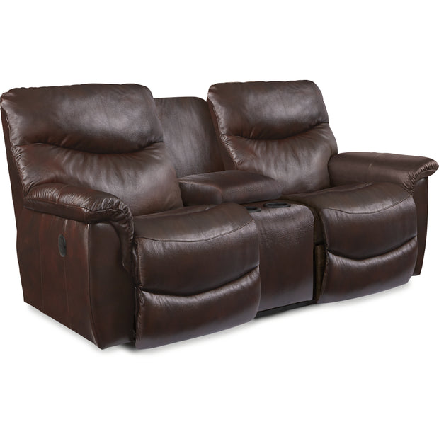 La-Z-Boy James Leather Reclining Console Loveseat,La-Z-Boy,Reclining Sofa and Loveseat,schleider-furniture-company