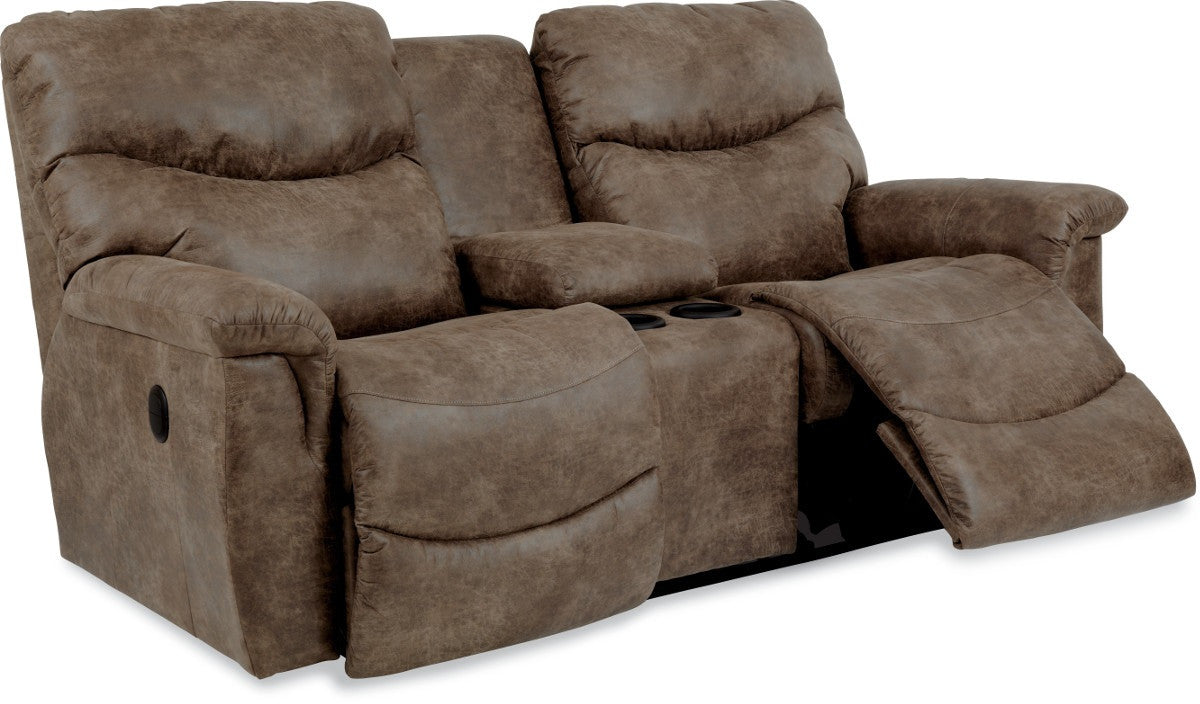 double brown reclining mahala loveseat console lv homelegance