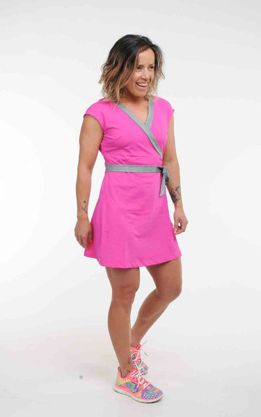 Olympic Faux Wrap Dress in Tricot - In Stock Now