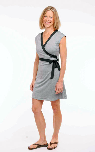 Olympic Faux Wrap Dress in Grey Heather - Pre-Order