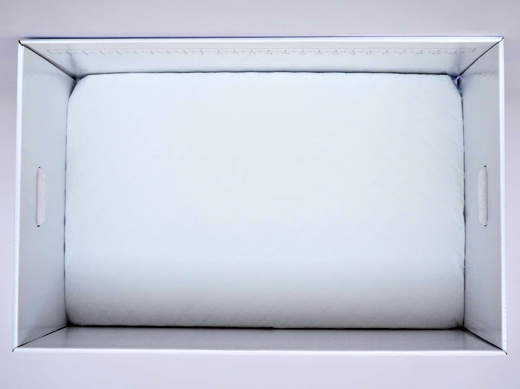 Overhead shot of the Finnbin baby box with waterproof mattress