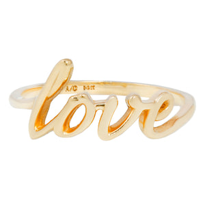 Love Ring in Solid Yellow 14k Gold