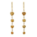 Four Tier Citrine Gem Drop Earrings