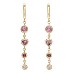 Four Tier Pink Tourmaline Gem Drop Earrings