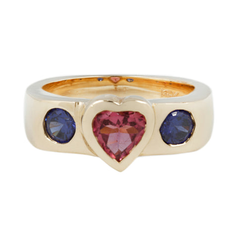 SHE-RA RING WITH TOURMALINE HEART AND IOLITE