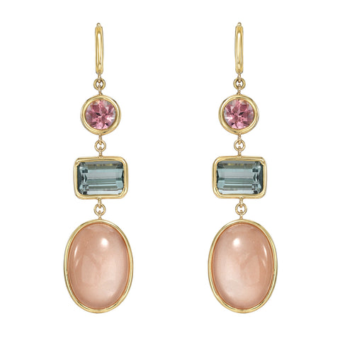 Three Tier Tourmaline and Peach Moonstone Gemstone Drop Earrings