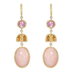 Three Tier Pink Tourmaline, Citrine, and Pink Opal Gemstone Drop Earrings
