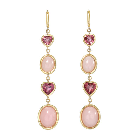 Four Tier Pink Tourmaline and Pink Opal Gemstone Drop Earrings