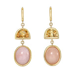 Two Tier Citrine and Pink Opal Gemstone Drop Earrings