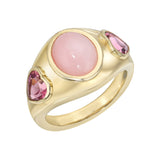 Pink Opal and Pink Heart Tourmaline Gypsy Ring