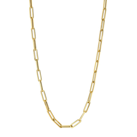 14k Yellow Gold Flat Link Paperclip Necklace