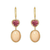 Pink Tourmaline and Pink Opal Gemstone Drop Earrings