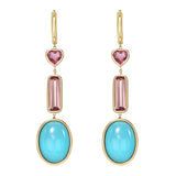 Pink tourmaline and Sleeping Beauty Turquoise Huggie Dangle Earring