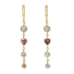 Four Tier Pink and Sea Foam Green Tourmaline Gem Drop Earrings