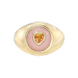 Pink Peruvian Opal and Heart Citrine Signet Ring