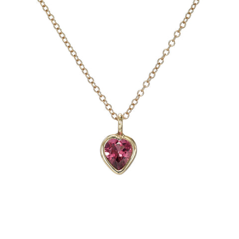 Pink Heart Tourmaline Charm Necklace