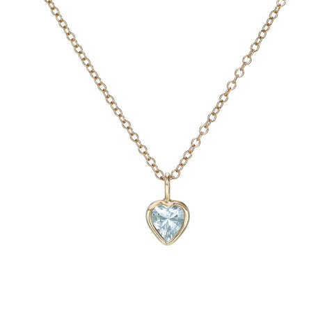 Swiss Blue Topaz Heart Charm Necklace