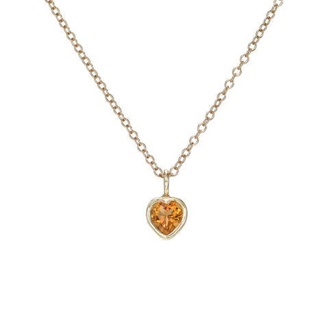 Citrine Heart Charm Necklace