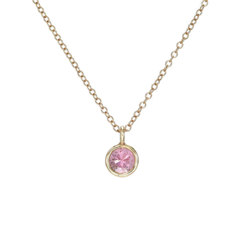 Round Pink Tourmaline Charm Necklace