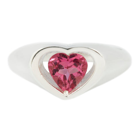 Floating pink tourmaline heart ring in sterling silver