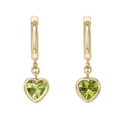 Green Peridot Heart Huggie Gemstone Drop Earrings