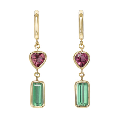 Pink Heart and Green Tourmaline Gem Drop Huggie Earrings