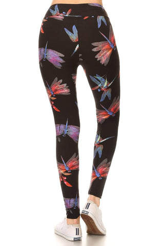 Image of OxLaLa Leggings Dragonfly Paradise with Yoga Band Dragonfly Paradise with Yoga Band - Soft, comfortable leggings. Beautiful designs and patterns.