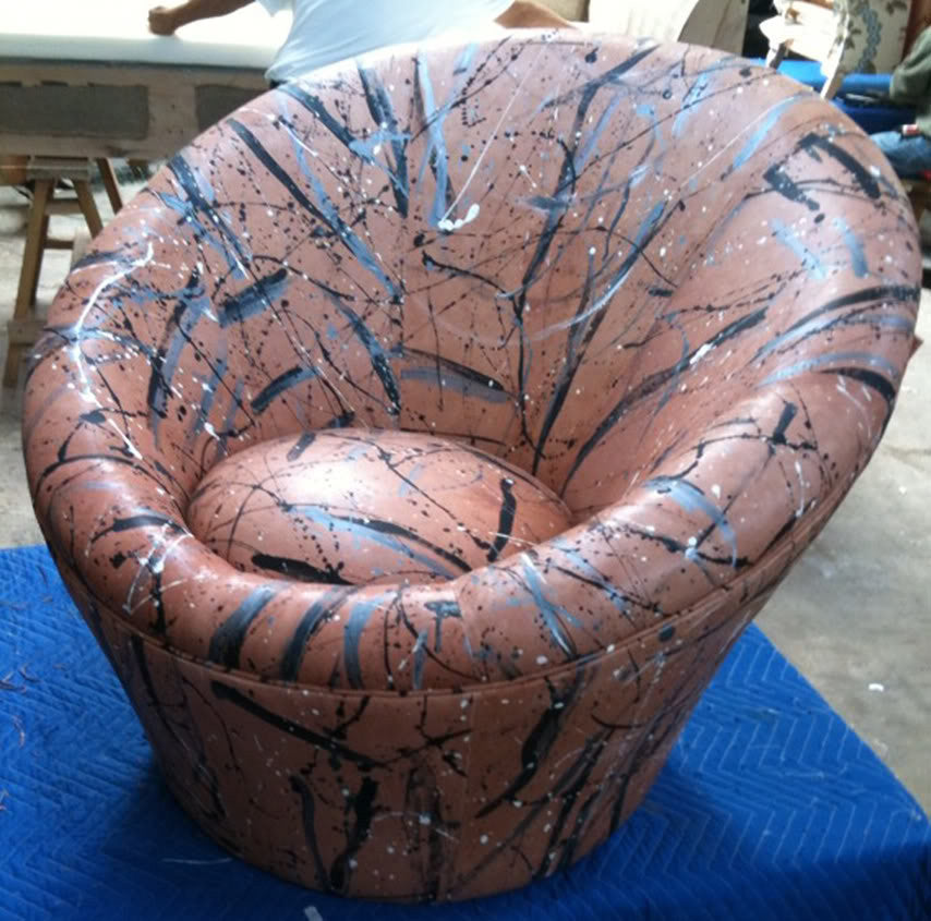 Barrel Chair upholstered in hand painted leather by Sara Palacios