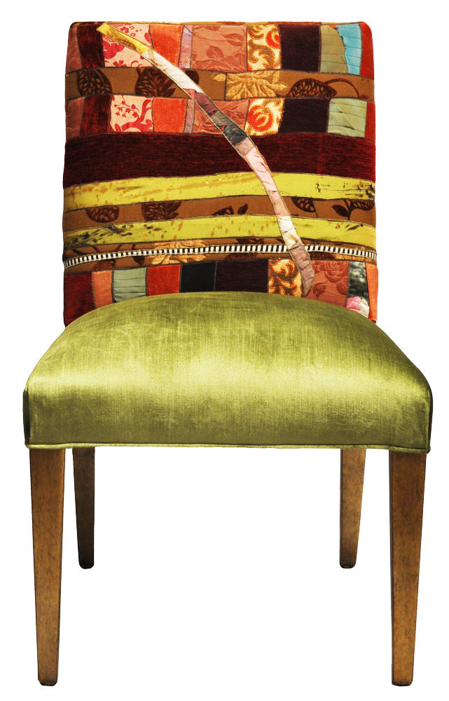 Dining chair upholsterd in Sara Palacios' fabric