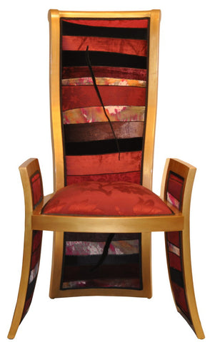 The High Back Chair, upholstered with handcrafted fabrics by Sara Palacios Designs