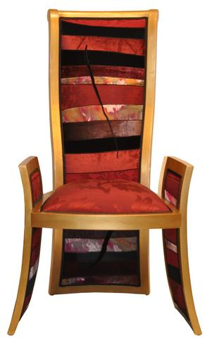 high back chair upholstered in patchwork fabric sara palacios designs