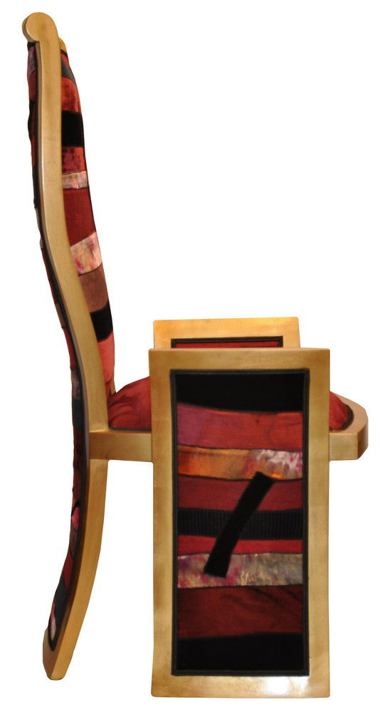 Unique chair by Sara Palacios Designs upholstered in patchwork fabric