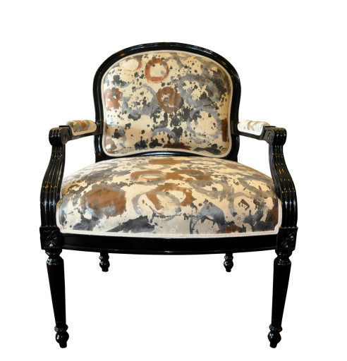 Accent chair upholstered in Sara  Palacios Design hand painted fabric