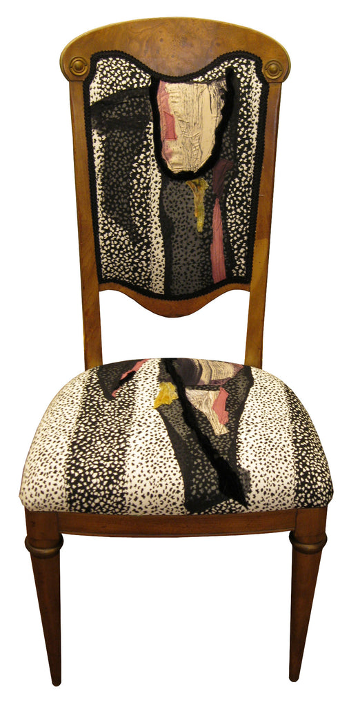 Antique chairs upholstered in hand painted fabric by Sara Palacios