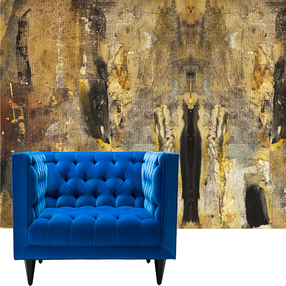 handmade wall paper by Rodrigo Palacios with a upholstered blue velvet chair