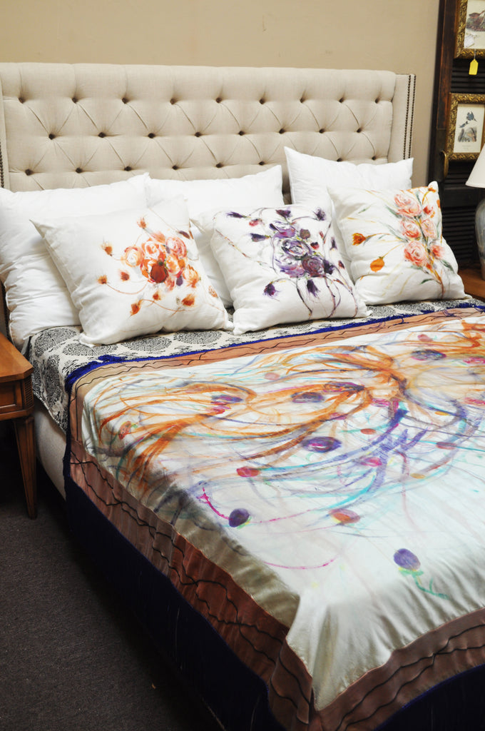 luxurious top of bed, hand painted silk and linen by Sara Palacios