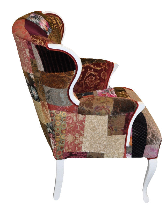 Wingback chair upholstered in Sara Palacios' patchwork fabric