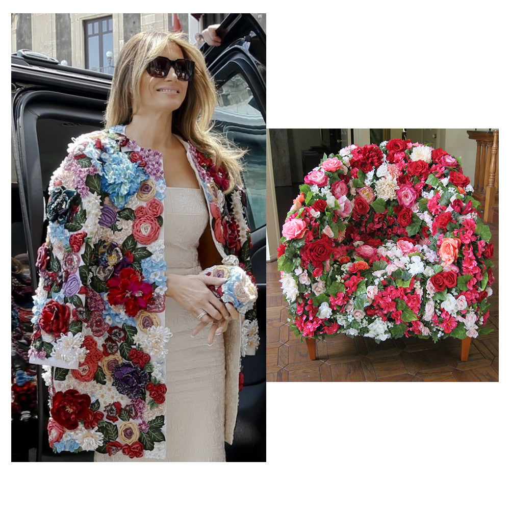 Dolce and Gabbana jacket and flower chair by Sara Palacios Designs