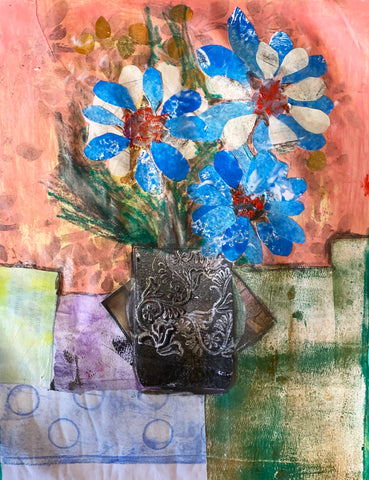 flower collage made with hand-printed and hand-painted papers sara palacios designs
