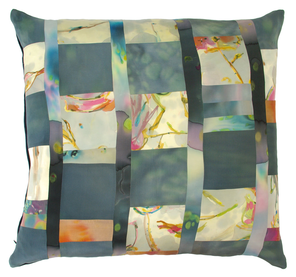 euro pillow patchwork with hand painted silks