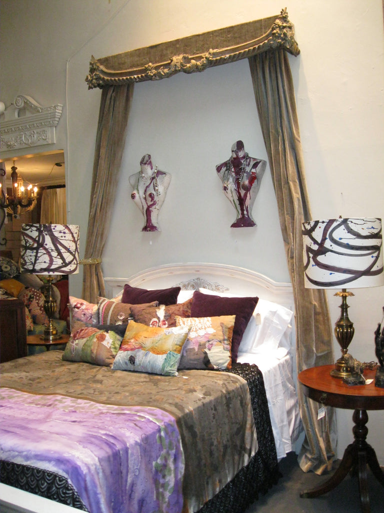 eclectic top of bed: hand painted silks by Sara Palacios
