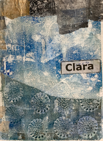 "front page of a handmade book called ""Clara"""