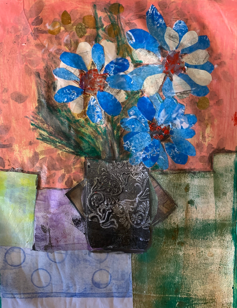an image from My Garden, flower collage made with hand printed and hand painted papers