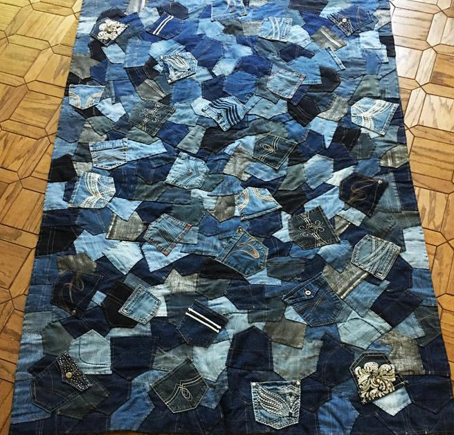 handmade rug out of recycled jean jackets
